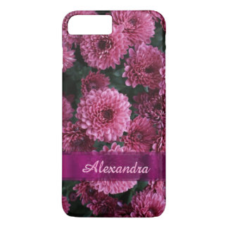 Personalized pretty pink Chrysanthemum  flower iPhone 7 Plus Case