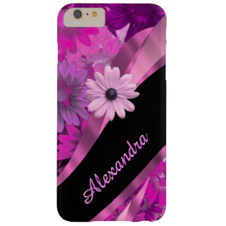 Personalized pretty pink floral pattern barely there iPhone 6 plus case