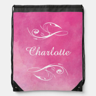 Personalized Pretty Pink Watercolor Texture Drawstring Bag