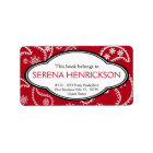 Personalized Pretty Red Paisley Print Bookplate Label