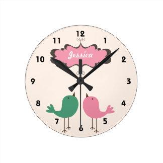 Personalized Pretty Two Birds Cream Wall Clock