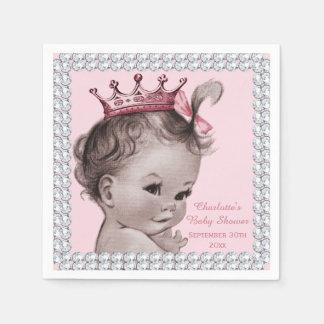 Personalized Princess Baby Shower Faux Diamonds Paper Napkins
