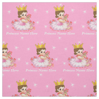 Personalized Princess Fabric by the Yard Your Text