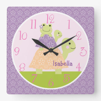 Personalized Puddles Stacked Turtles Nursery Clock
