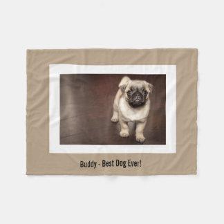 Personalized Pug Dog Photo and Your Pug Dog Name Fleece Blanket