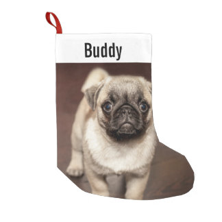 Personalized Pug Dog Photo and Your Pug Dog Name Small Christmas Stocking