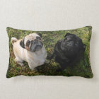 Personalized Pug Pillow, black and white Pugs, NEW Lumbar Pillow