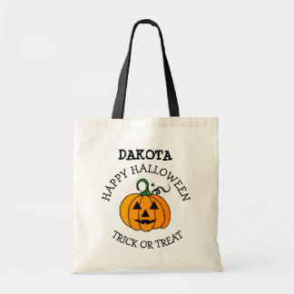 Personalized Pumpkin Face Halloween Candy Bag