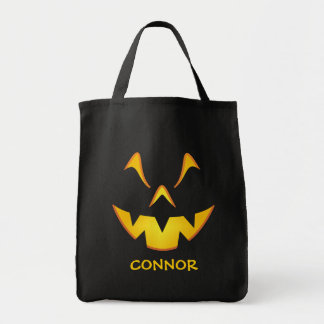 Personalized Pumpkin Smile Trick or Treat Tote Bag