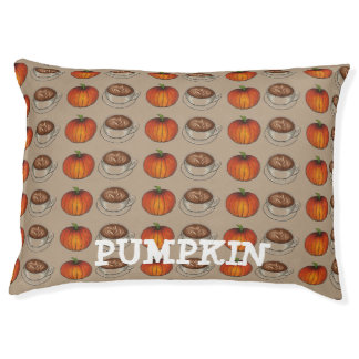 Personalized Pumpkin Spice Coffee Latte Dog Bed Large Dog Bed