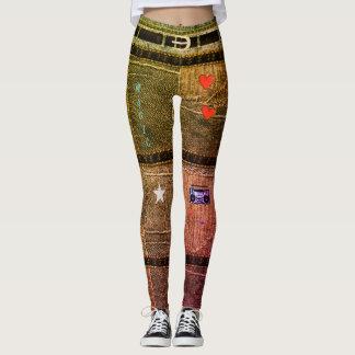 Personalized Punk/Skater Patchwork Rainbow Denim Leggings