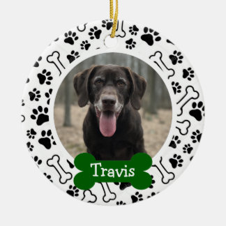 Personalized Puppy Dog Pet Photo Ceramic Ornament