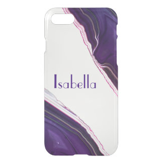 Personalized Purple Agate Gem Crystal Clear case