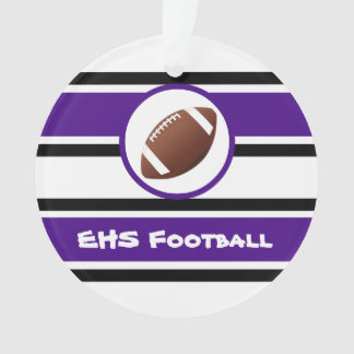 Personalized Purple and Black Football Ornament