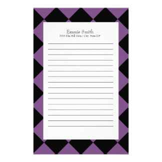 Personalized Purple and Black with White Checkered Stationery