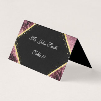 Personalized Purple and Gold Escort Card
