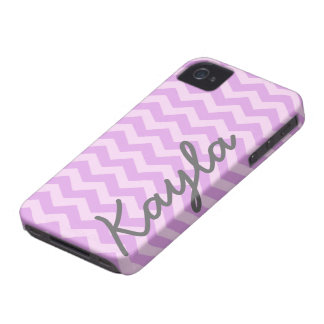 Personalized Purple and Pink Girly Chevron Pattern iPhone 4 Cover