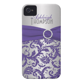 Personalized Purple and Silver Damask Case-Mate iPhone 4 Case