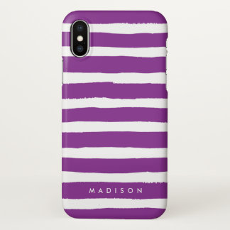Personalized Purple and White Brushed Stripe iPhone X Case