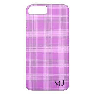 Personalized Purple and White Plaid Tartan Pattern iPhone 8 Plus/7 Plus Case
