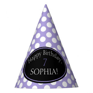 Personalized Purple and White Polka Dot Party Hat