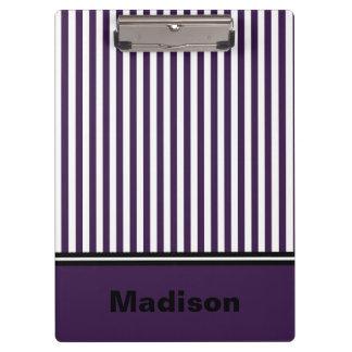 Personalized Purple and White Striped Clipboard