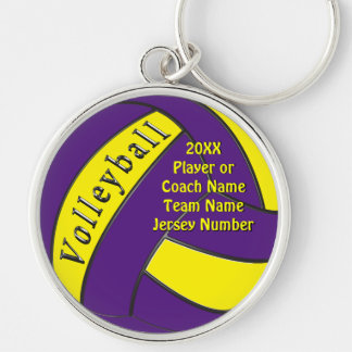 Personalized Purple and Yellow Volleyball Gifts Silver-Colored Round Keychain