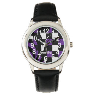 Personalized Purple, Black and White Abstract Wristwatch