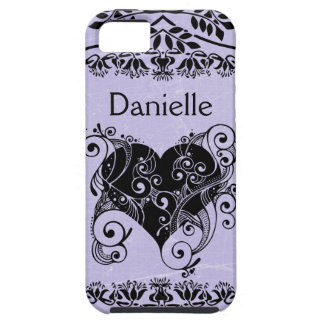Personalized Purple & Black Tribal Heart Script iPhone 5 Cases
