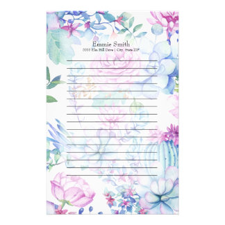 Personalized Purple Blue Cactus and Floral White Stationery