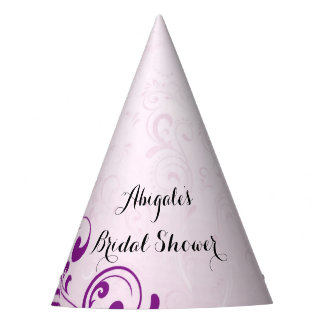 Personalized Purple Bridal Shower Party Hats