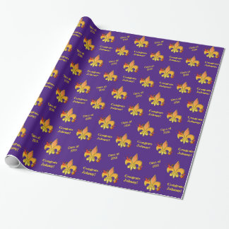 Personalized Purple Cajun Crawfish Fleur de Lis Wrapping Paper