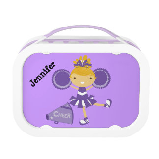 Personalized Purple Cheerleader Lunch Box
