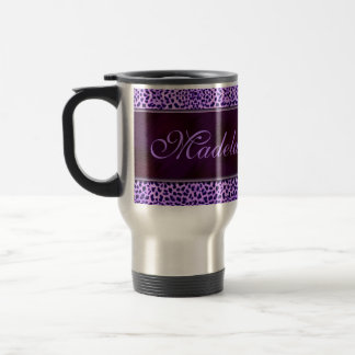 Personalized Purple Cheetah Print Travel Mug
