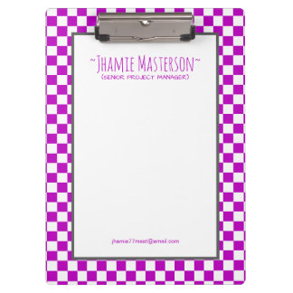 Personalized Purple Chequered Clipboards