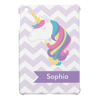 Personalized Purple Chevron Unicorn iPad Mini Cover