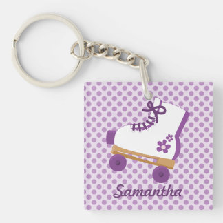 Personalized Purple Dots Roller Skate Keychain