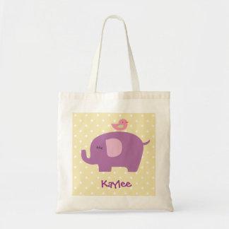 Personalized Purple Elephant Tote Bag