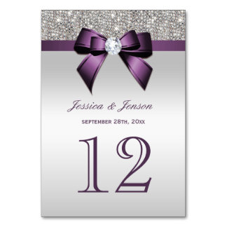 Personalized Purple Faux Bow Silver Sequins Card