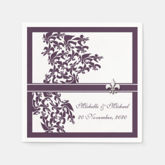 Personalized Purple Fleur de Lis Damask Style Paper Napkin