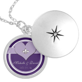 Personalized Purple Fleur de Lis Heart Keepsake Locket Necklace
