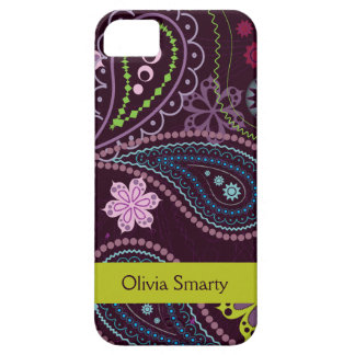Personalized purple floral paisley iphone 5 case