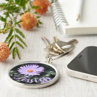 Personalized Purple Flower Nature Photography Keychain