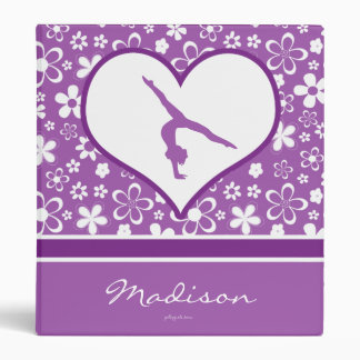 Personalized Purple Flowers Pattern Gymnastics Binder