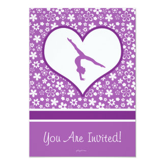 Personalized Purple Flowers Pattern Gymnastics Card