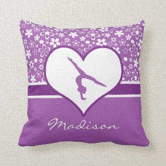 Personalized Purple Flowers Pattern Gymnastics Throw Pillow