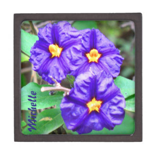 Personalized Purple Flowers Photograph Premium Jewelry Boxes