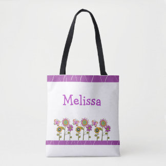 Personalized Purple Folk Flowers Tote Bag