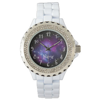 Personalized Purple Galaxy Space Photo Wrist Watches