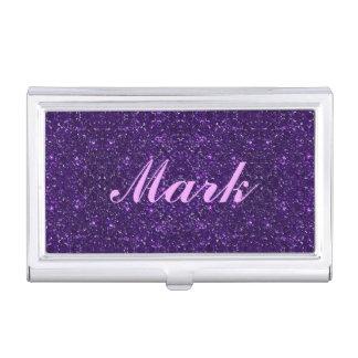 Personalized Purple Glitter Business Card Holder